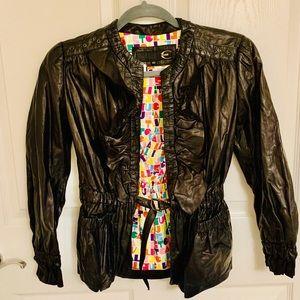 JUST CAVALLI Black Crop Leather Jacket
